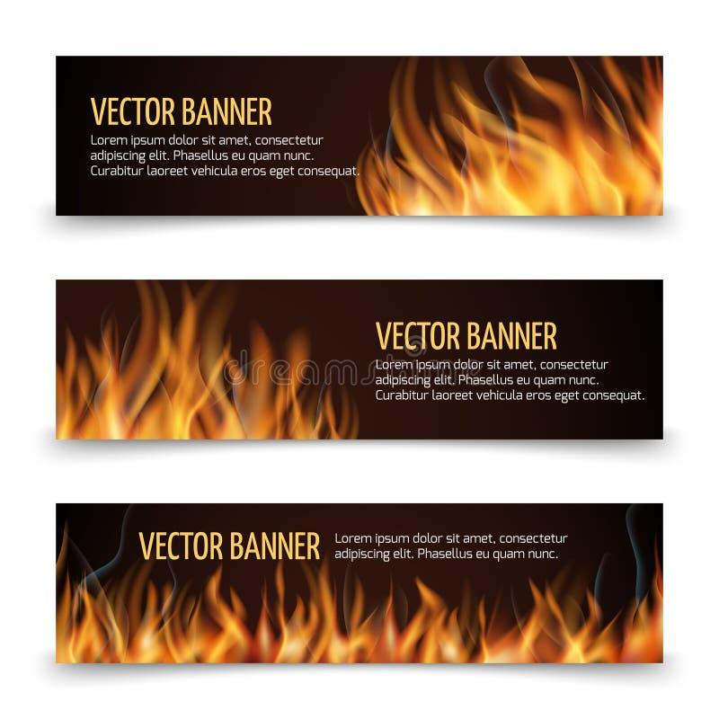 Gorącej pożarniczej reklamy wektorowi horyzontalni sztandary ustawiający ilustracji