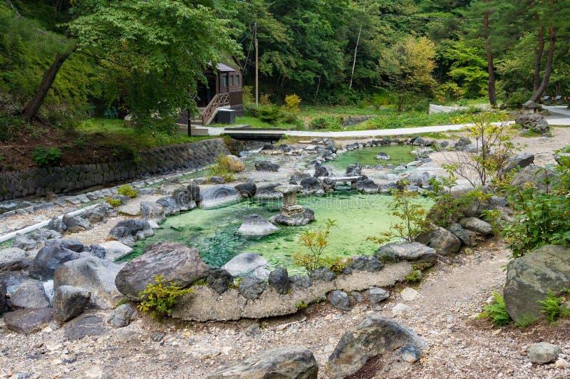 Gorącej wiosny basen w Kusatsu parku w Japonia obraz royalty free