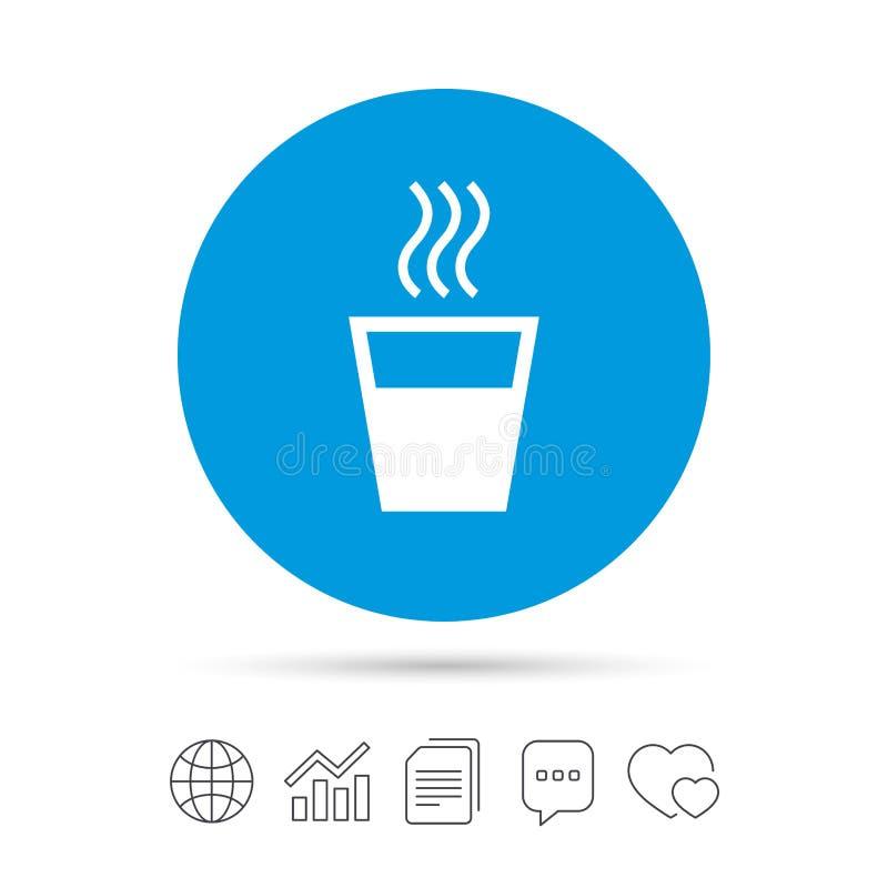 Gorącej wody szyldowa ikona Gorący napoju symbol ilustracja wektor