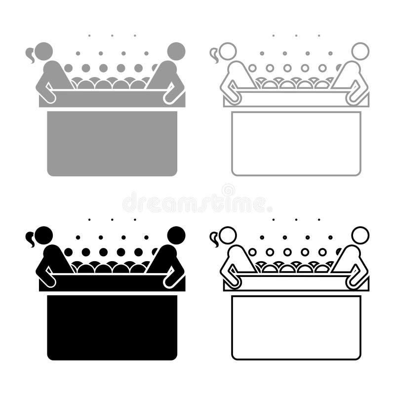Gorący bełkowisko z kobiety i mężczyzny zdroju wanną z piankowym bąbla skąpaniem Relaksuje łazienka zdroju Kąpielowej ikony kolor ilustracja wektor