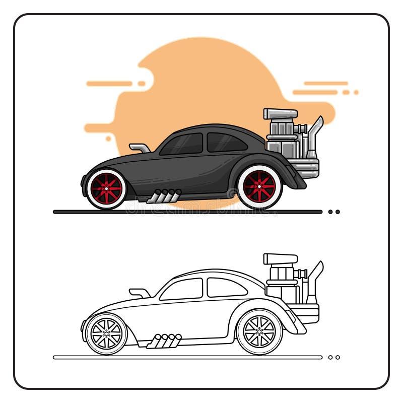 Gorący bieżnego samochodu boczny widok ilustracji