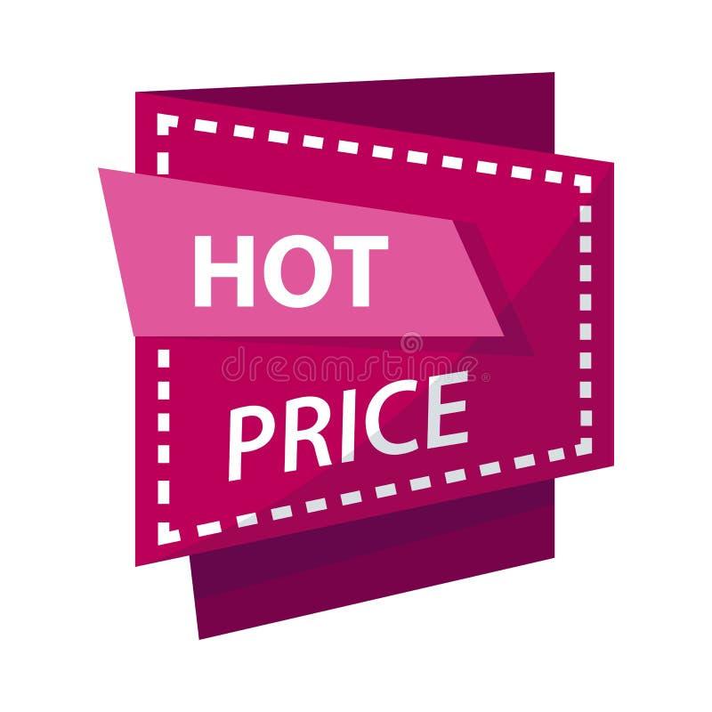 Gorący cena sztandar lub sprzedaży dyskontowego promo reklamowa wektorowa etykietka royalty ilustracja