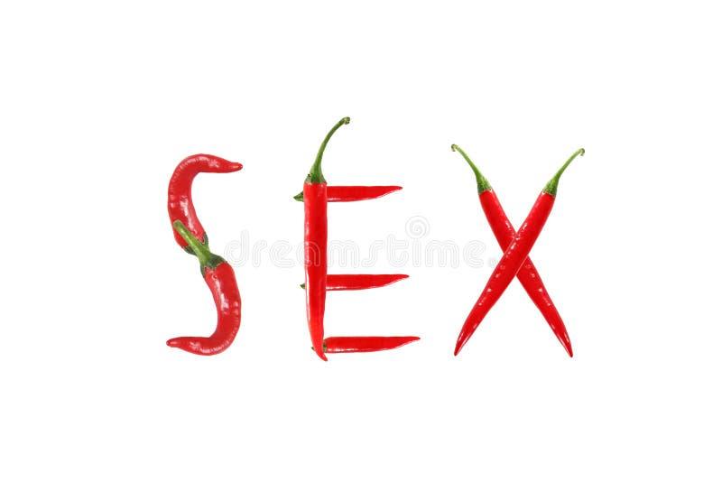 Gorący chili pieprz odizolowywający, słowo płeć fotografia stock
