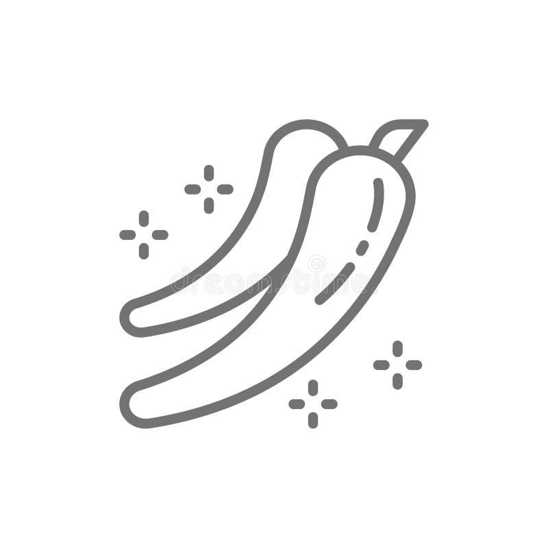 Gorący chili pieprz, pikantności kreskowa ikona ilustracja wektor