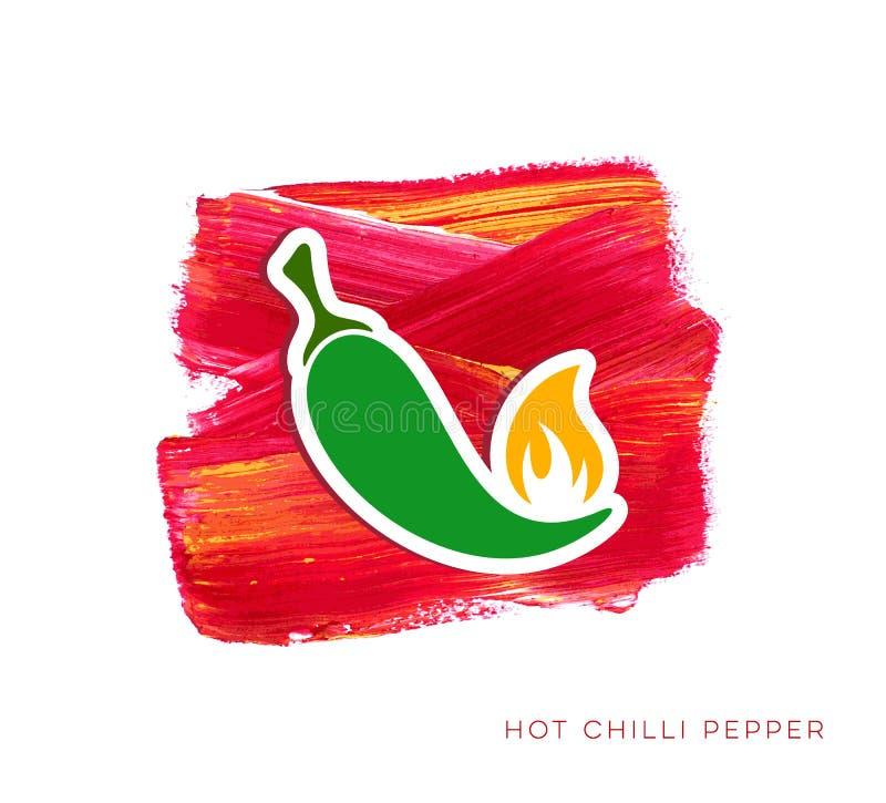 Gorący chili pieprzu etykietka ilustracja wektor