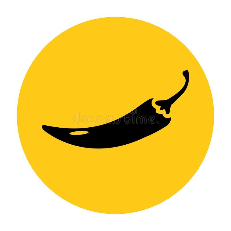 Gorący chili pieprzu ikona Ikona od setu Czarna sylwetka na jaskrawym ? ilustracji