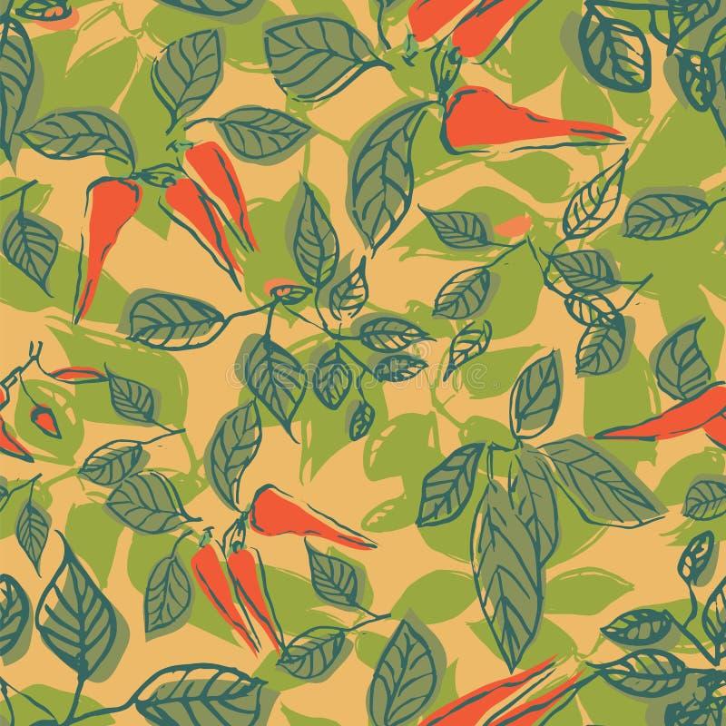 Gorący chili pieprzu liści powtórki wzoru bezszwowy projekt ilustracja wektor