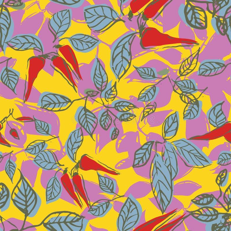 Gorący chili pieprzu liści powtórki wzoru bezszwowy projekt royalty ilustracja