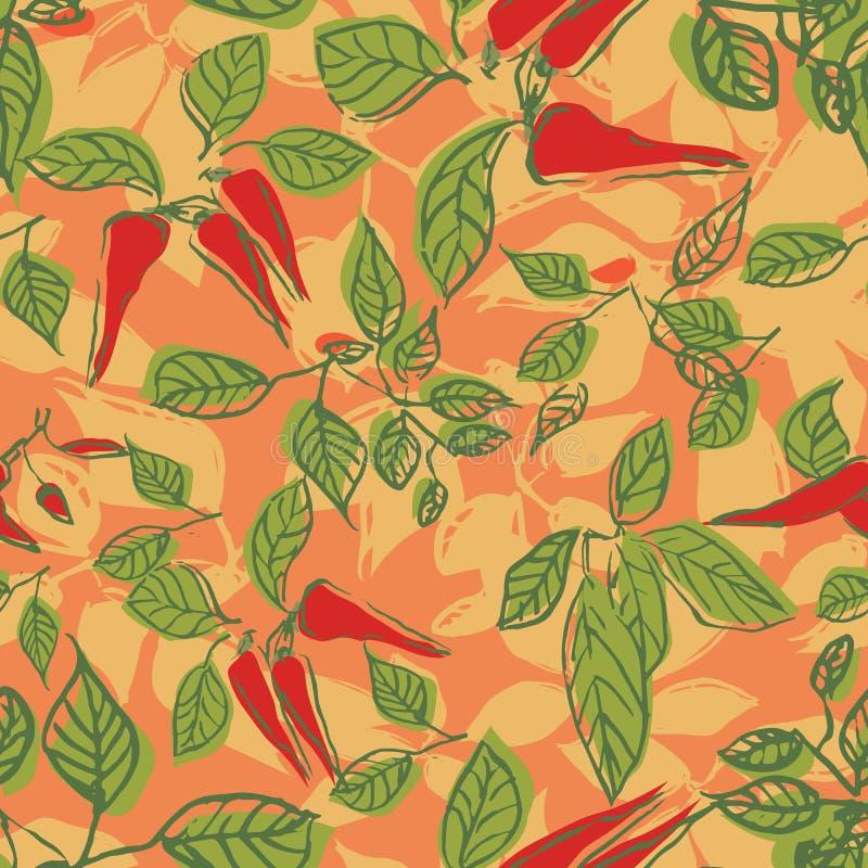 Gorący chili pieprzu liści powtórki wzoru bezszwowy projekt ilustracji