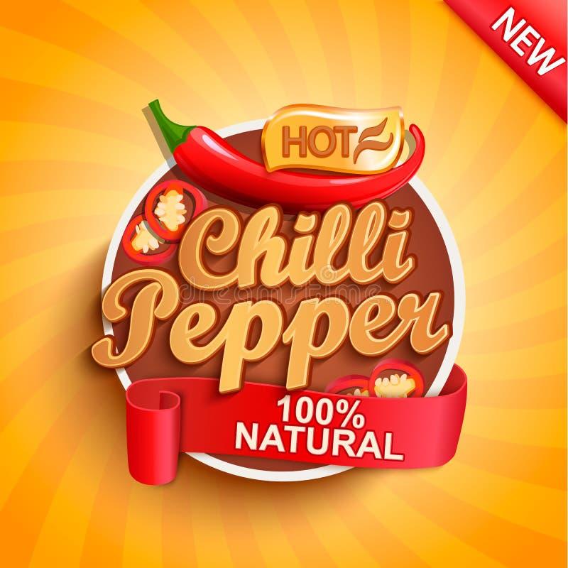 Gorący chili pieprzu logo, etykietka lub majcher, ilustracji