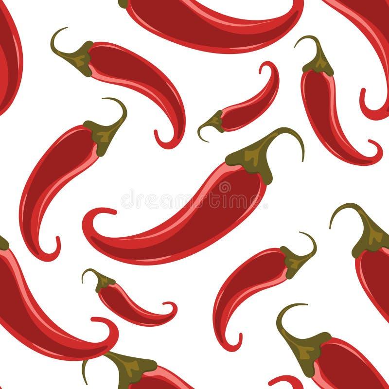 Gorący chili pieprzy bezszwowy wzór royalty ilustracja