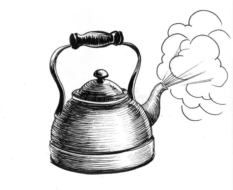 Gorący czajnik ilustracja wektor