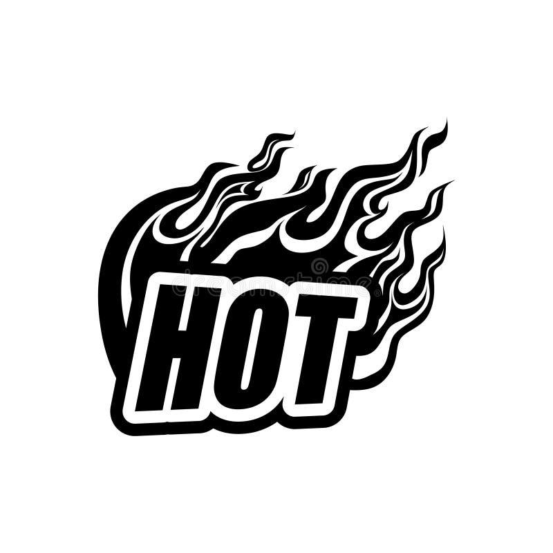 gorący, czerń na białym tle płonie inskrypcję z płomieniem, jęzory ogień, błysk royalty ilustracja