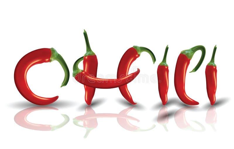 Gorący czerwoni Chilies z odbiciem royalty ilustracja