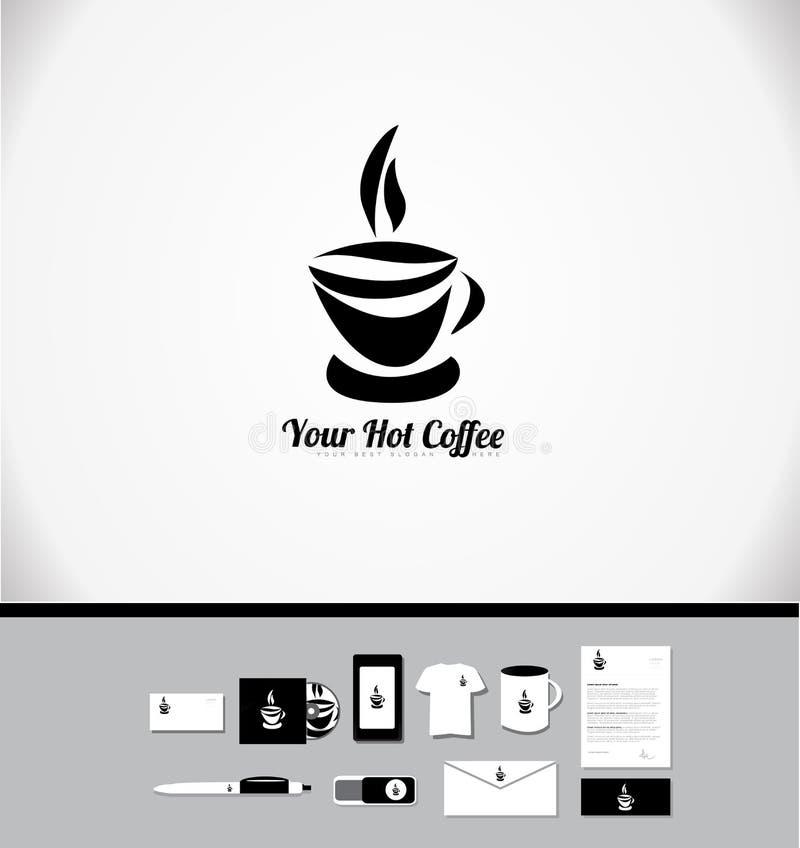 Gorący filiżanka loga projekt ilustracja wektor