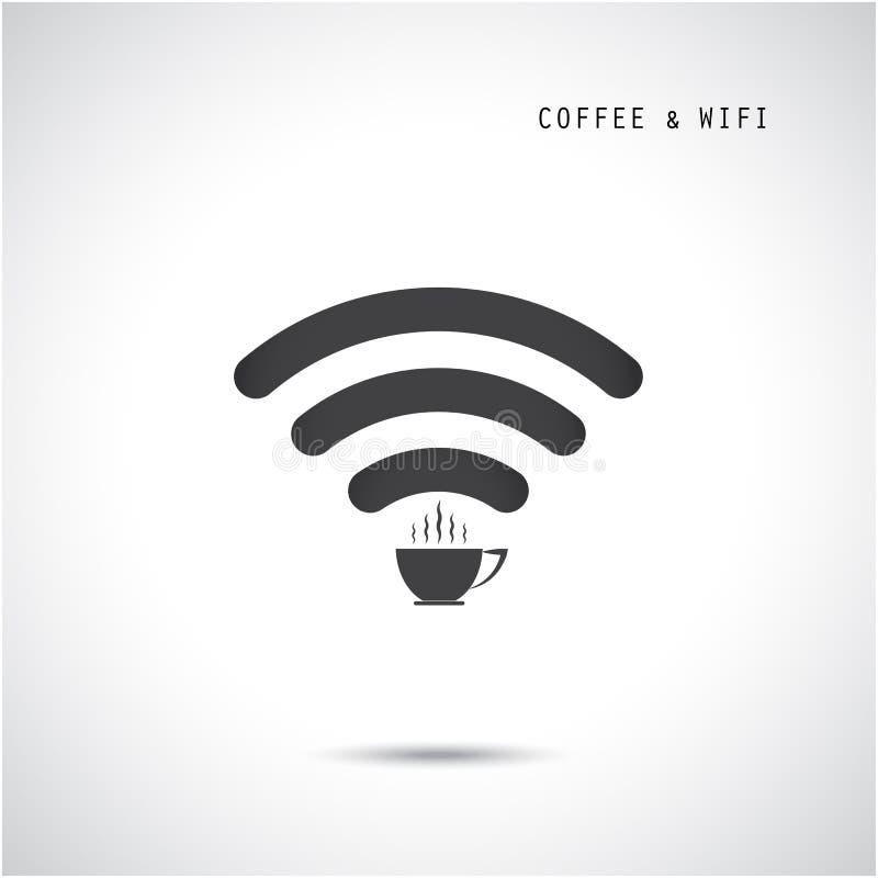 Gorący filiżanki i wifi znak Technologii i biznesu tło ilustracja wektor