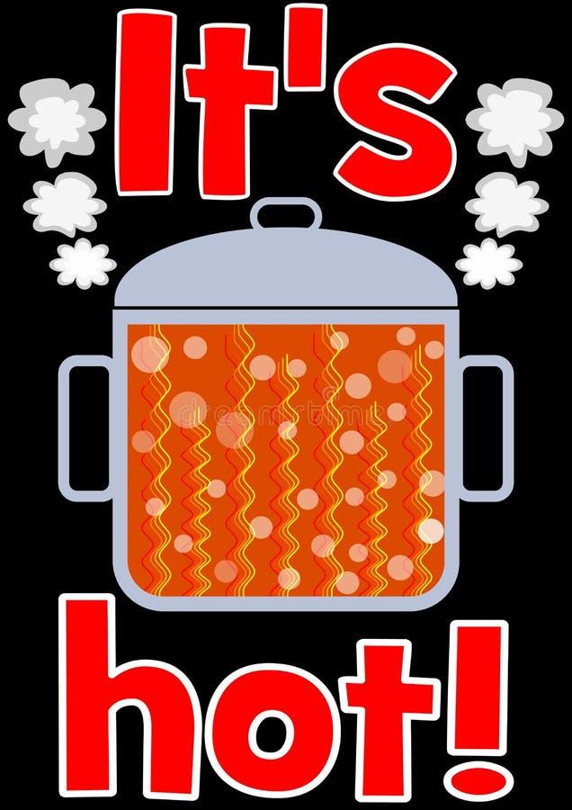 Gorący garnek z pomarańczową gotowanie zawartością, czerwony nagłówek Ja jest gorący, ilustracja na czarnym tle dla wirusowej rek ilustracji