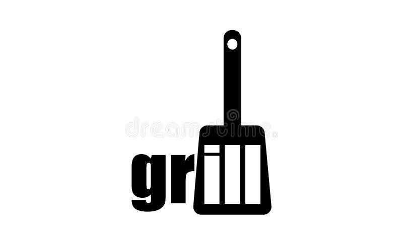 Gorący grill, BBQ logo restauracyjny szablon Grilla loga projekt ilustracji