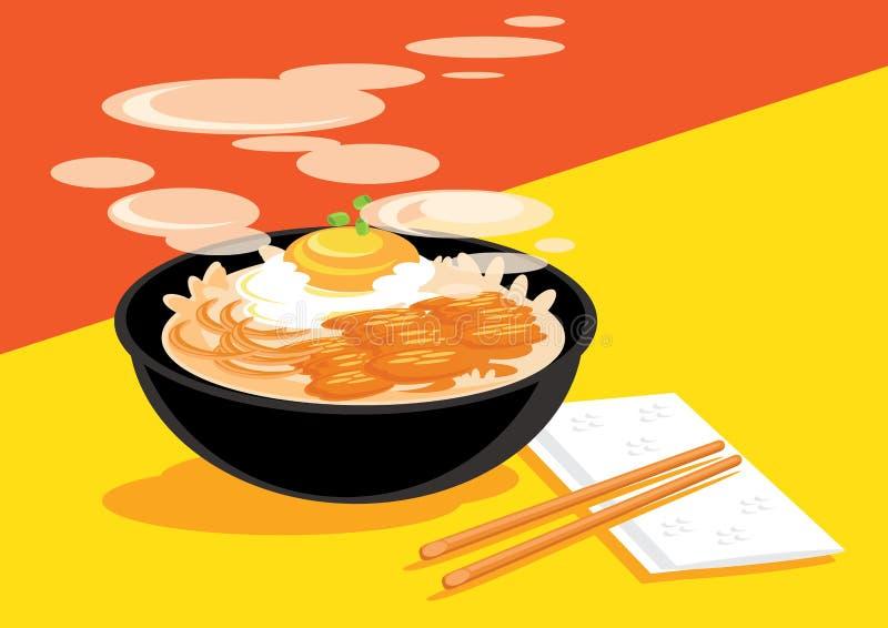 Gorący Gyudon z Onsen jajecznym przygotowywającym jeść ilustracja wektor