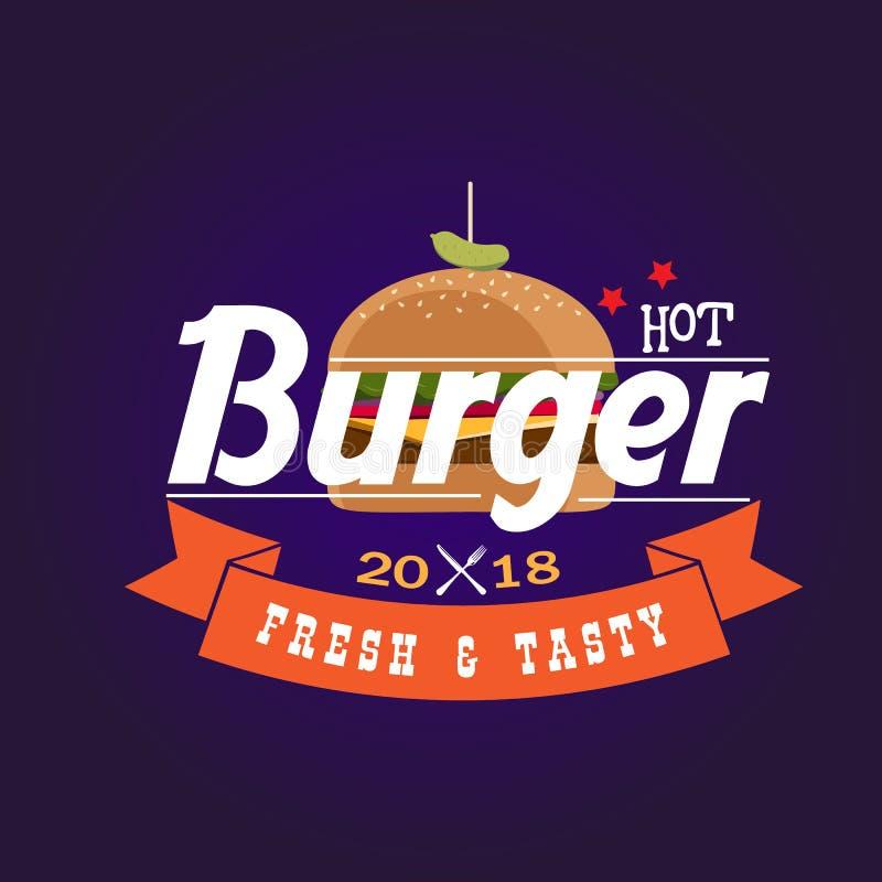 Gorący hamburger 2018 Świeży & Smakowity ilustracja wektor