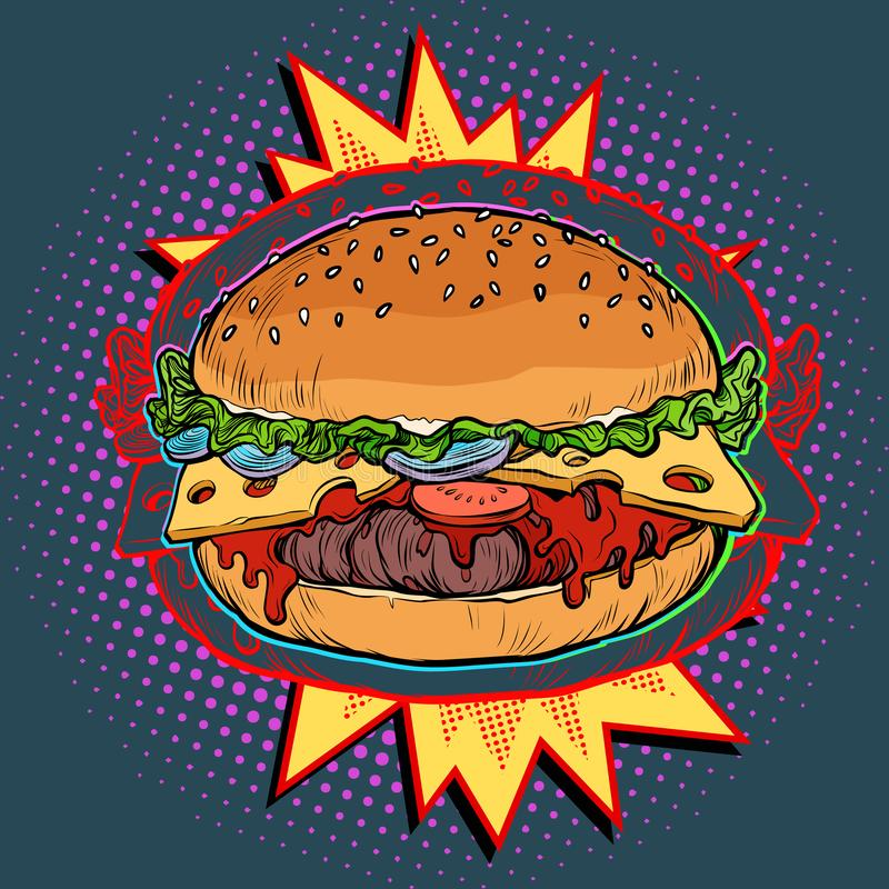 Gorący hamburger na ogieniu royalty ilustracja