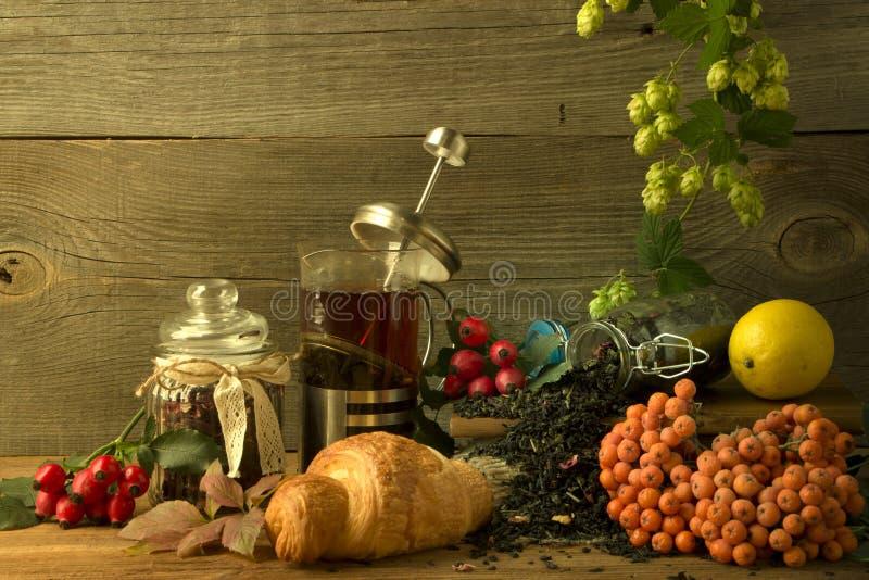 Gorący herbaciany dzbanek na drewnianym tle otaczającym jesieni owoc obrazy stock