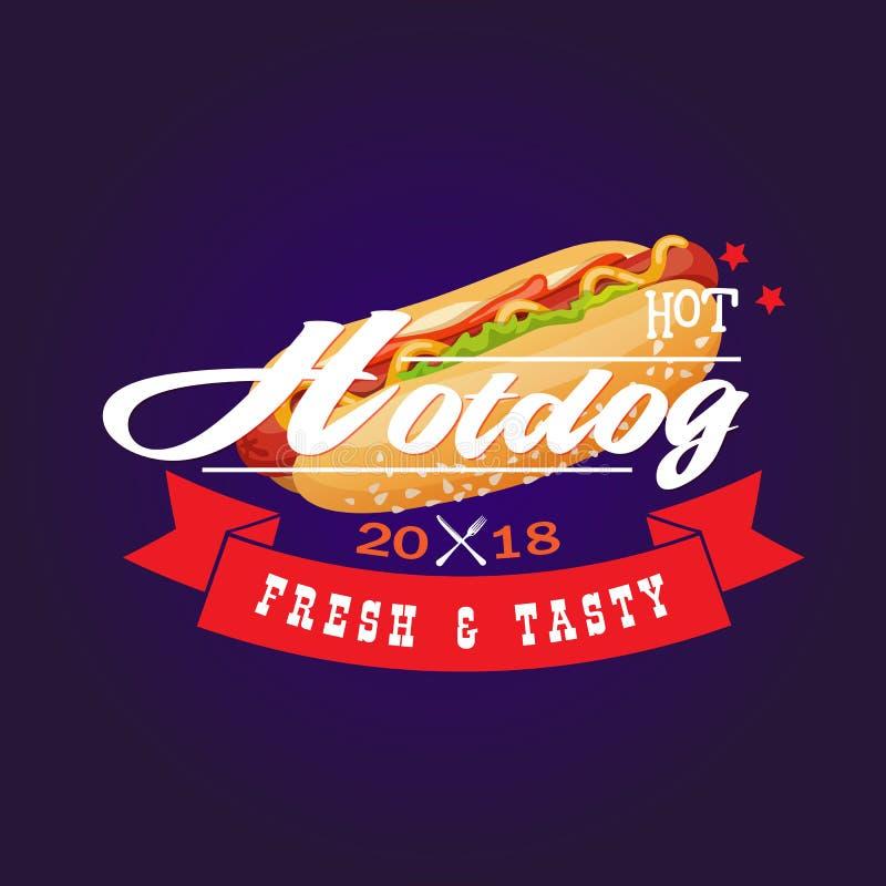 Gorący Hotdog 2018 Świeży & Smakowity royalty ilustracja