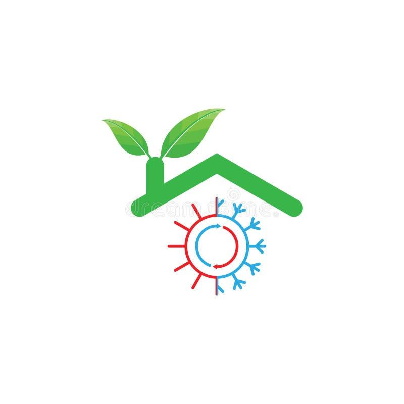 Gorący i Chłodno eco zieleni domu logo projekt royalty ilustracja