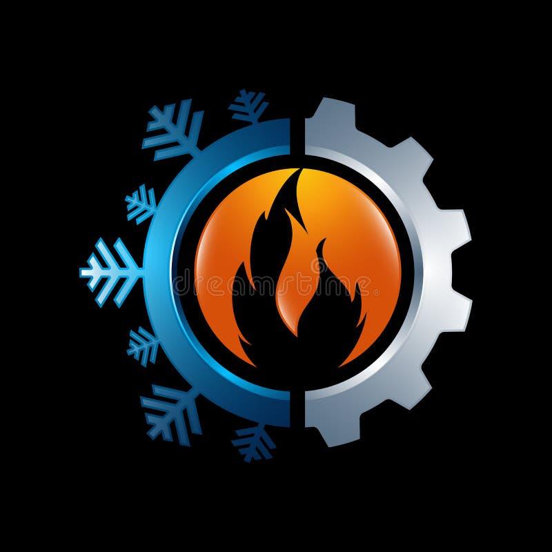 Gorący i chłodno z przekładnia koloru loga wektorowym projektem royalty ilustracja