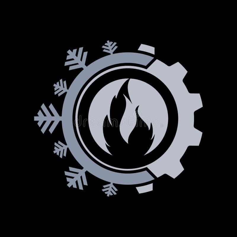 Gorący i chłodno z przekładnia koloru loga wektorowym projektem ilustracja wektor