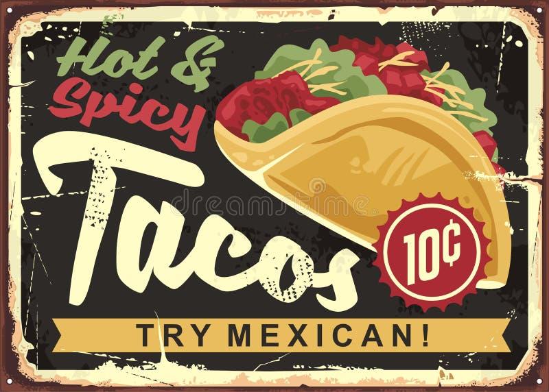 Gorący i korzenny Meksykański tacos ilustracja wektor