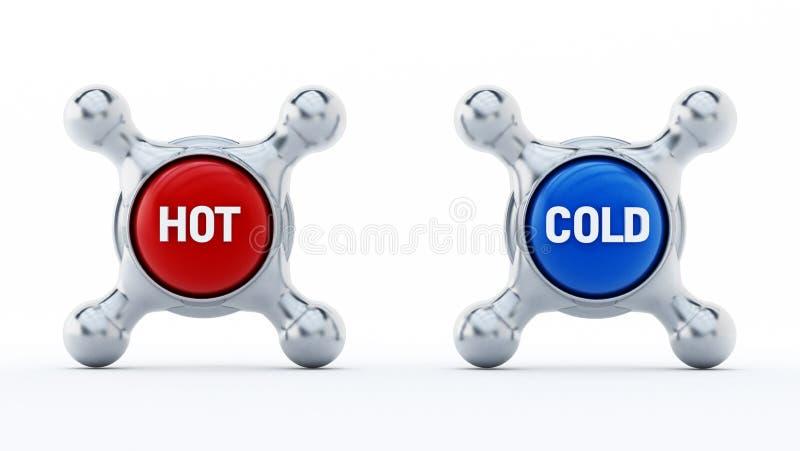 Gorący i zimni faucets odizolowywający na białym tle ilustracja 3 d ilustracja wektor