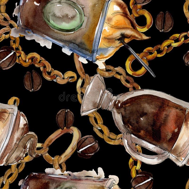 Gorący i zimni kawowi napoje Akwareli t?a ilustracji set Bezszwowy t?o wz?r ilustracja wektor