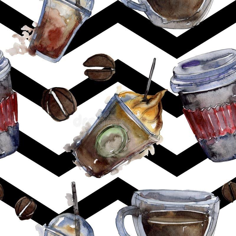 Gorący i zimni kawowi napoje Akwareli t?a ilustracji set Bezszwowy t?o wz?r royalty ilustracja