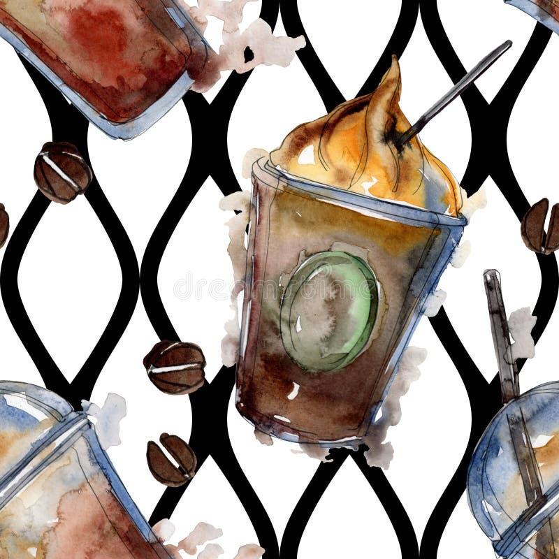 Gorący i zimni kawowi napoje Akwareli t?a ilustracji set Bezszwowy t?o wz?r ilustracji