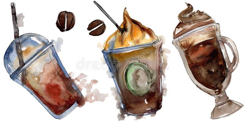 Gorący i zimni kawowi napoje Akwareli t?a ilustracji set Odosobniony napój ilustracji element royalty ilustracja