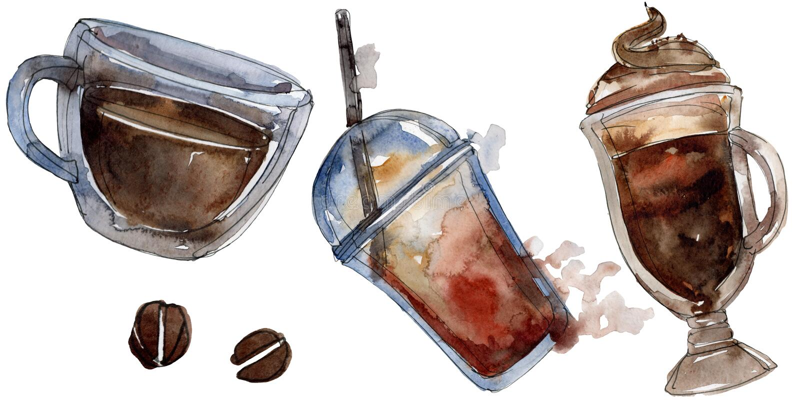 Gorący i zimni kawowi napoje Akwareli t?a ilustracji set Odosobniony napój ilustracji element ilustracji