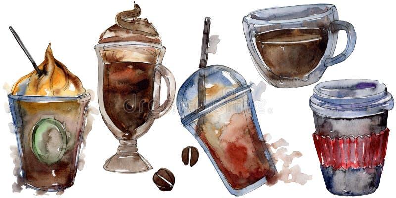 Gorący i zimni kawowi napoje Akwareli t?a ilustracji set Odosobniony napój ilustracji element ilustracja wektor
