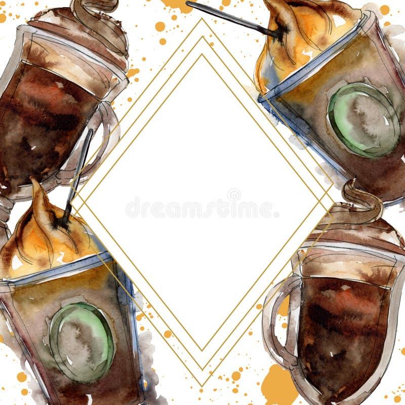 Gorący i zimni kawowi napoje Akwareli t?a ilustracji set Ramowy rabatowy ornamentu kwadrat royalty ilustracja