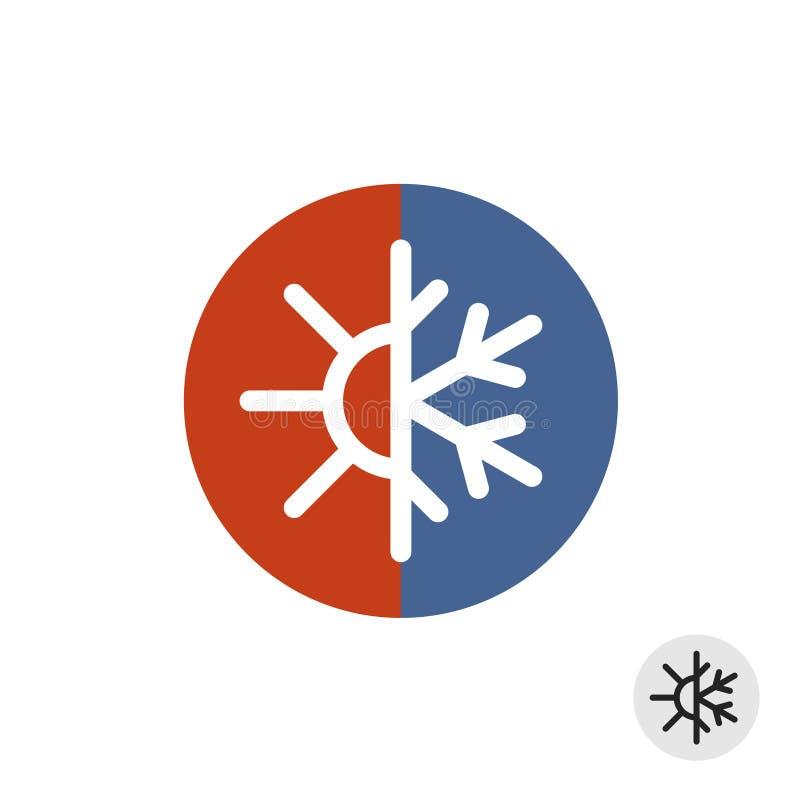 Gorący i zimny round znak ilustracja wektor