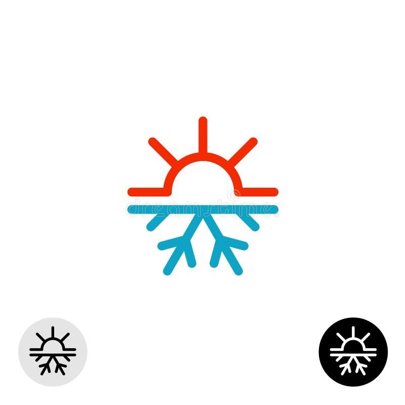 Gorący i zimny symbol Słońce wszystko i płatek śniegu przyprawiamy pojęcie loga royalty ilustracja