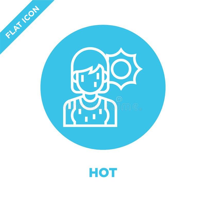 gorący ikona wektor od globalne ocieplenie kolekcji Cienieje kreskową gorącą kontur ikony wektoru ilustrację Liniowy symbol dla u royalty ilustracja