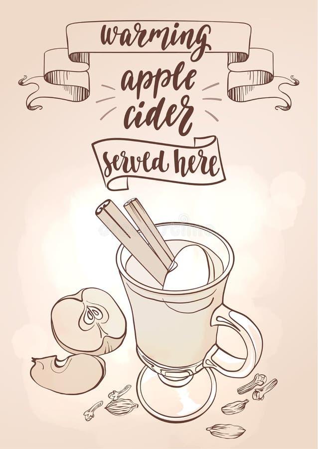 Gorący jabłczany cydr ilustracja wektor
