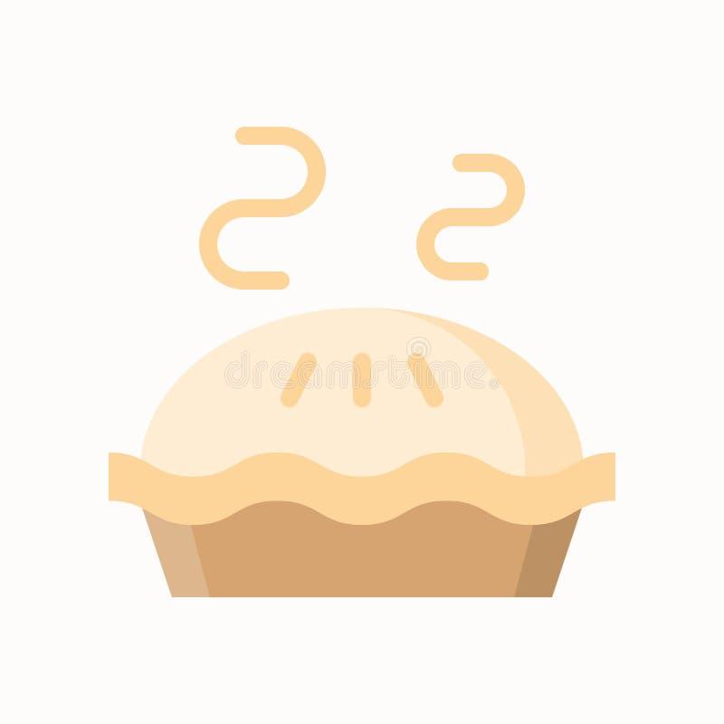 Gorący jabłczany kulebiak, prosta ikona w mieszkanie stylu, piekarnia i ciasto set, ilustracji