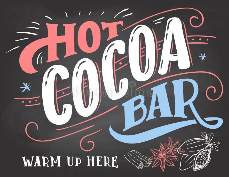 Gorący kakao baru znak na chalkboard tle ilustracji