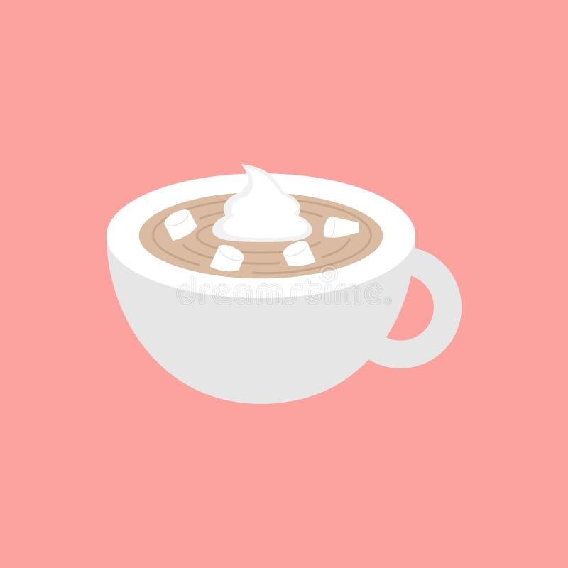 Gorący kakao w filiżanki wektorowej grafiki ilustraci ilustracji