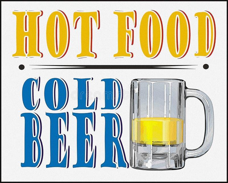 Gorący Karmowy Zimnego piwa plakat royalty ilustracja