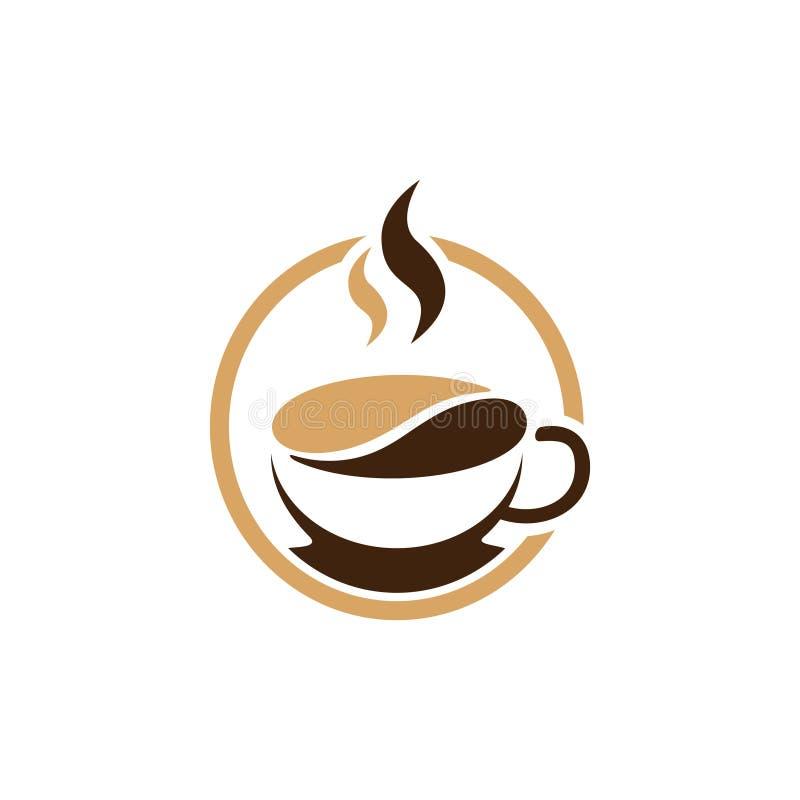 Gorący Kawowej fasoli kawiarni sklepu znaka logo szablon ilustracji