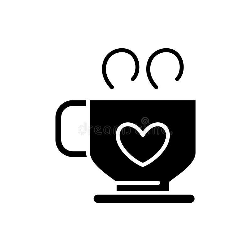 Gorący kawowy czarny ikony pojęcie Gorący kawowy płaski wektorowy symbol, znak, ilustracja royalty ilustracja