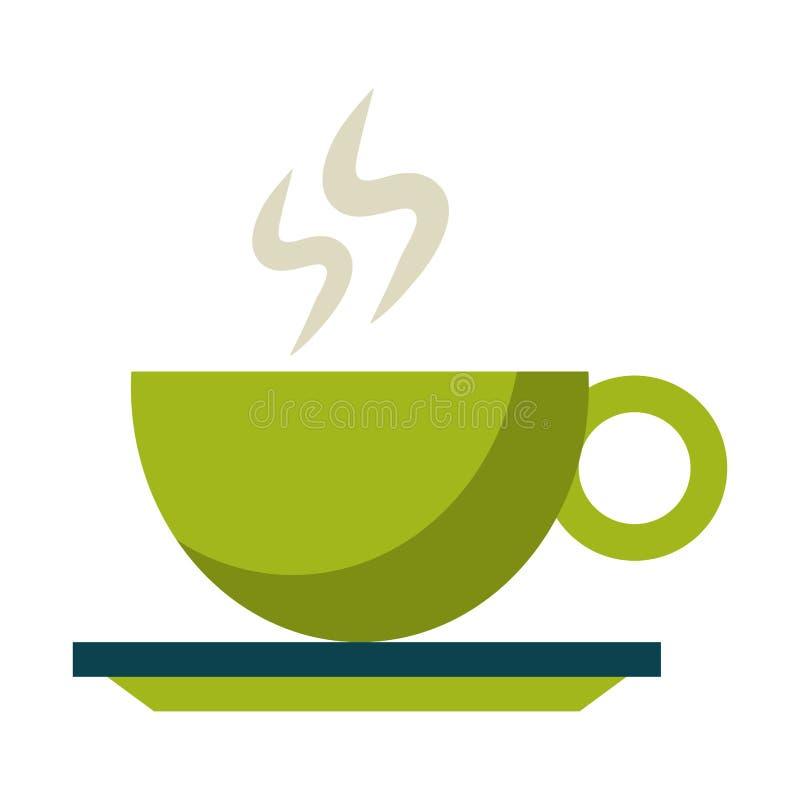 Gorący kawowy kubek na naczyniu royalty ilustracja